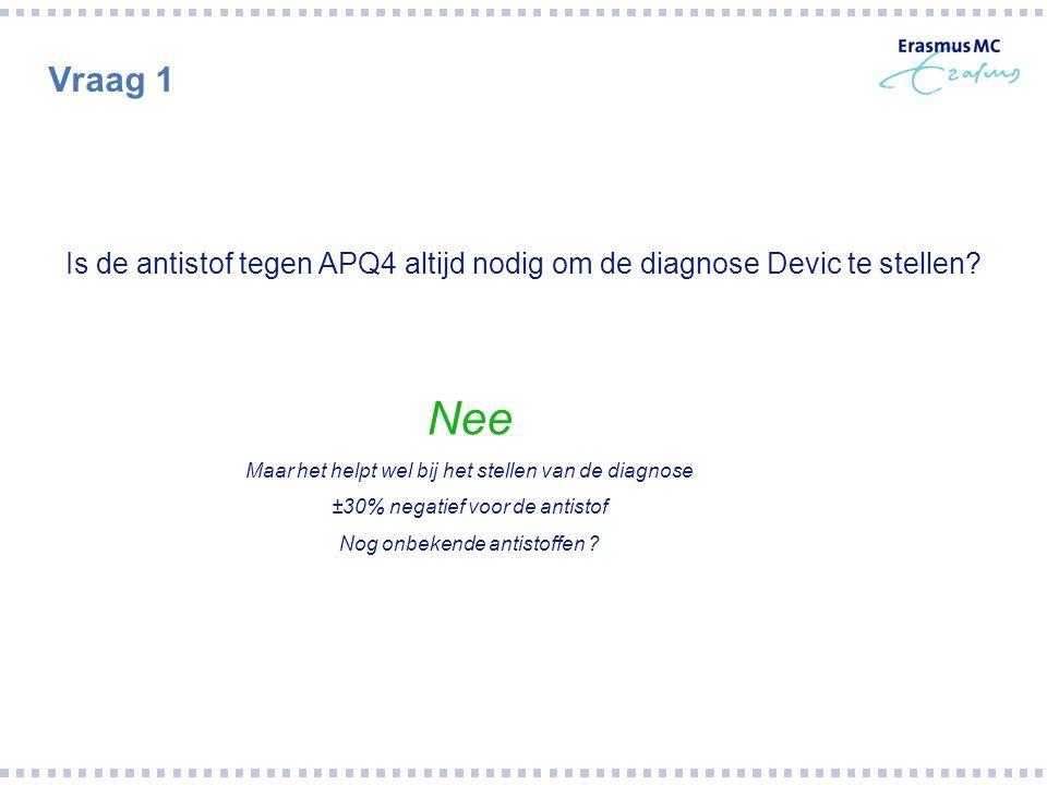 Vraag 1 Is de antistof tegen APQ4 altijd nodig om de diagnose Devic te stellen Nee. Maar het helpt wel bij het stellen van de diagnose.