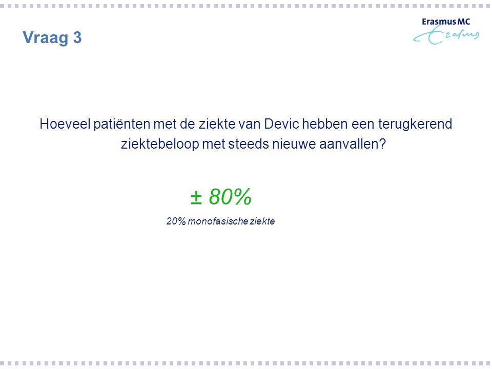 Vraag 3 Hoeveel patiënten met de ziekte van Devic hebben een terugkerend ziektebeloop met steeds nieuwe aanvallen