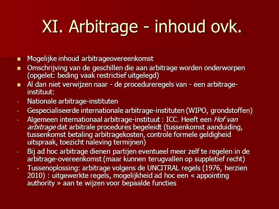 XI. Arbitrage - inhoud ovk.