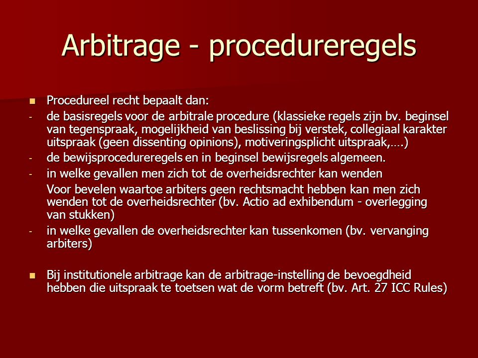 Arbitrage - procedureregels