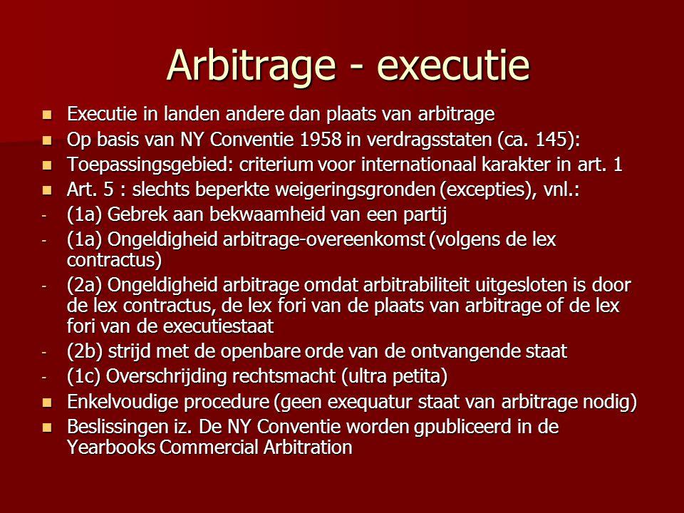 Arbitrage - executie Executie in landen andere dan plaats van arbitrage. Op basis van NY Conventie 1958 in verdragsstaten (ca. 145):