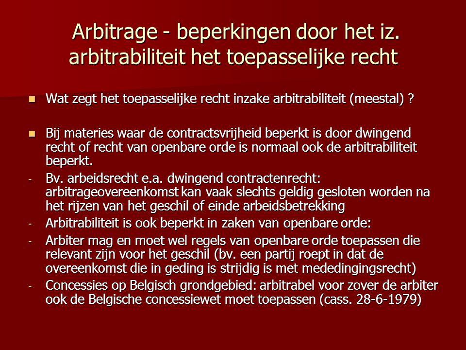 Arbitrage - beperkingen door het iz