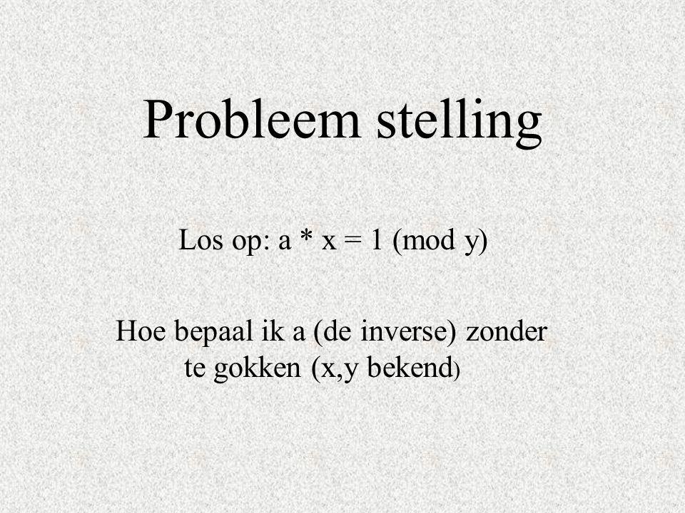 Probleem stelling Los op: a * x = 1 (mod y)