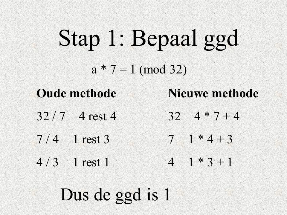 Stap 1: Bepaal ggd Dus de ggd is 1 a * 7 = 1 (mod 32) Oude methode
