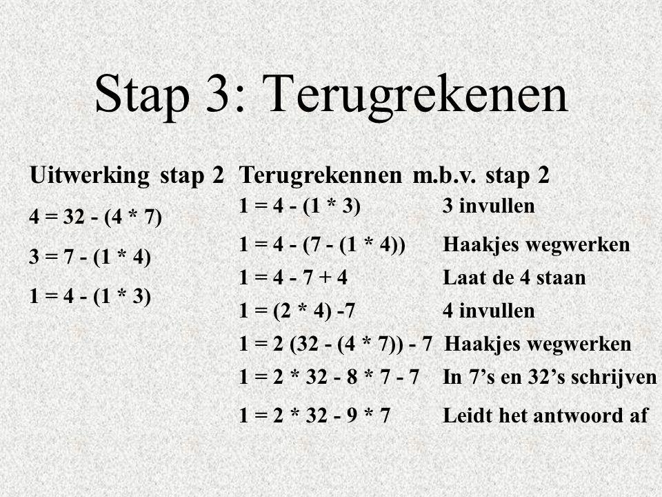 Stap 3: Terugrekenen Uitwerking stap 2 Terugrekennen m.b.v. stap 2