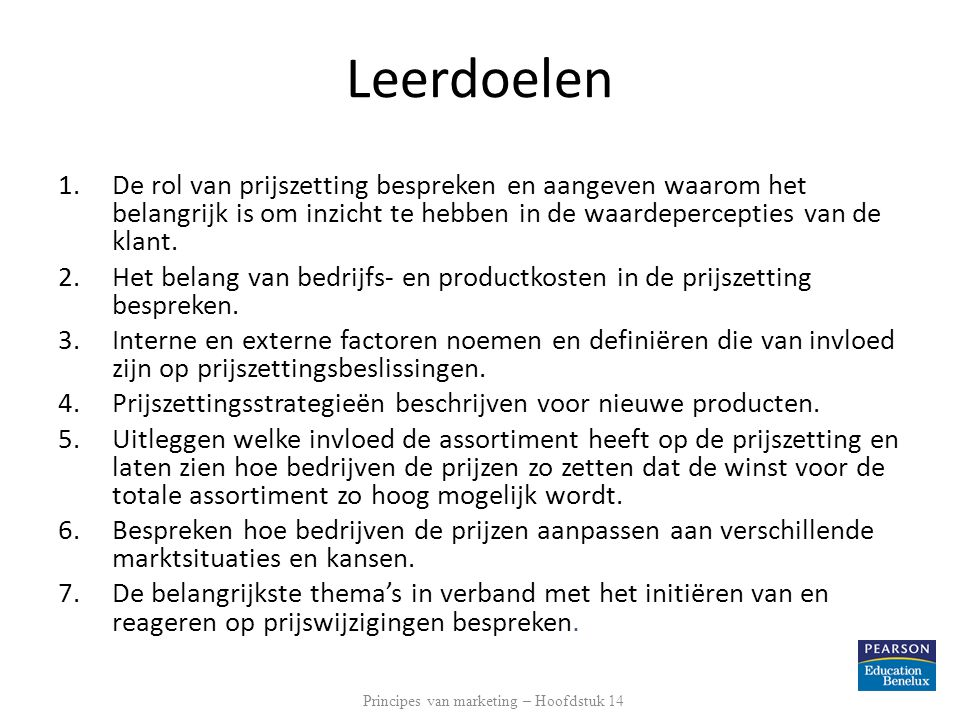 Principes van marketing – Hoofdstuk 14