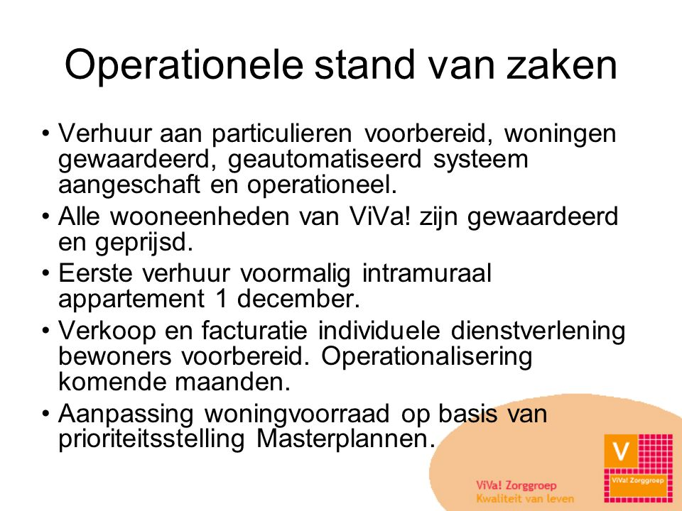 Operationele stand van zaken