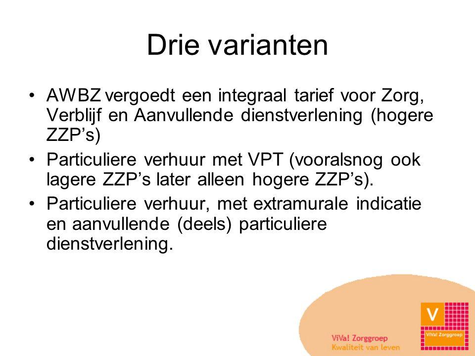 Drie varianten AWBZ vergoedt een integraal tarief voor Zorg, Verblijf en Aanvullende dienstverlening (hogere ZZP's)