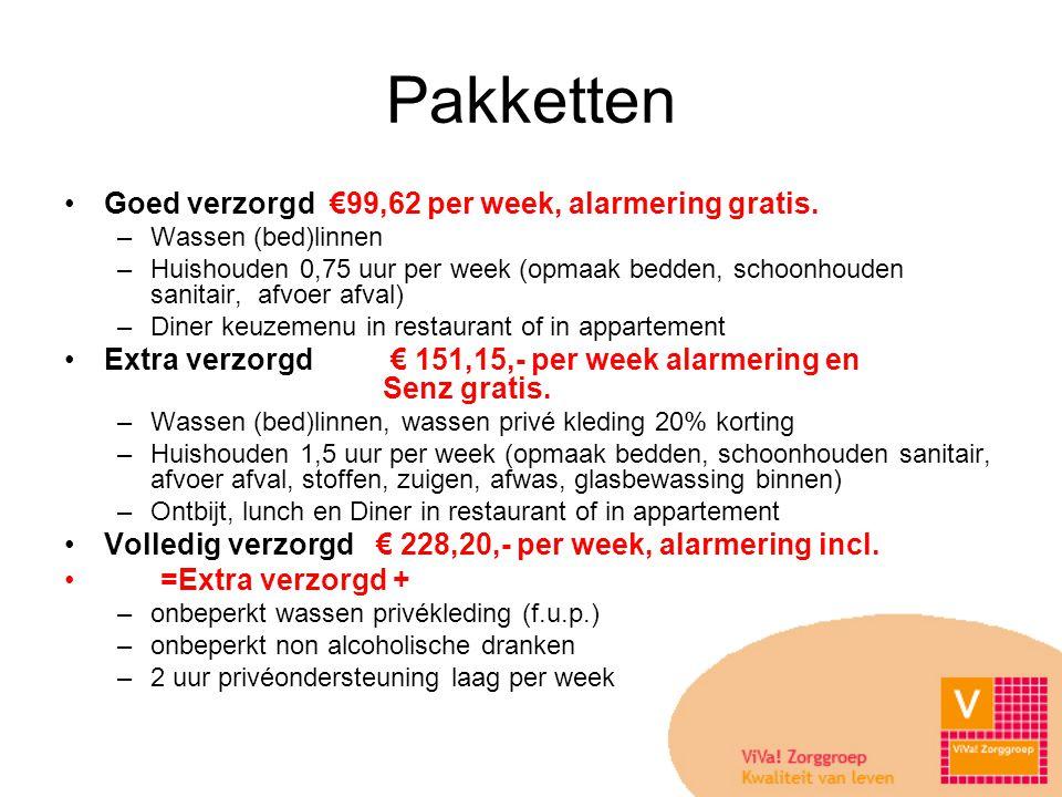 Pakketten Goed verzorgd €99,62 per week, alarmering gratis.