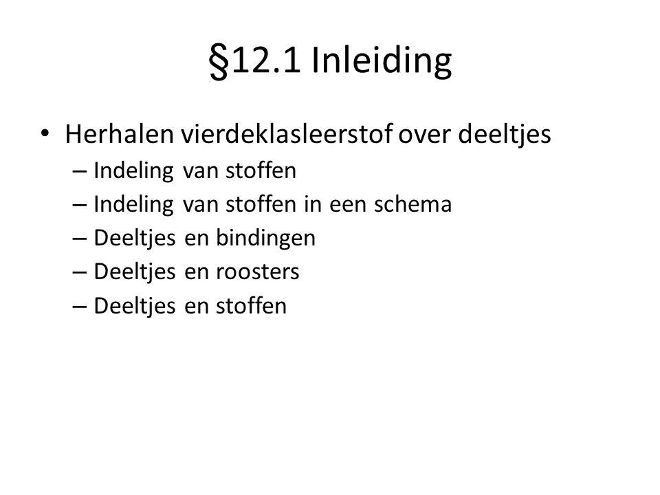 §12.1 Inleiding Herhalen vierdeklasleerstof over deeltjes