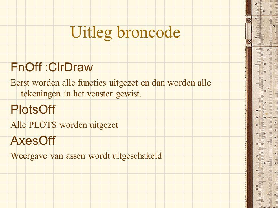 Uitleg broncode FnOff :ClrDraw PlotsOff AxesOff