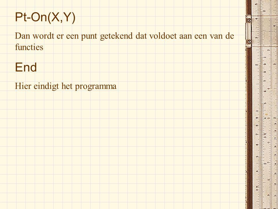 Pt-On(X,Y) Dan wordt er een punt getekend dat voldoet aan een van de functies.