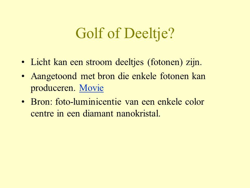 Golf of Deeltje Licht kan een stroom deeltjes (fotonen) zijn.