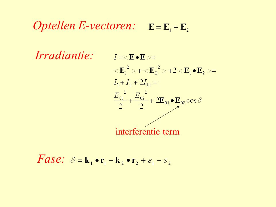 Optellen E-vectoren: Irradiantie: interferentie term Fase: