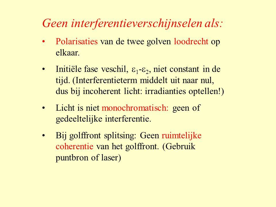 Geen interferentieverschijnselen als: