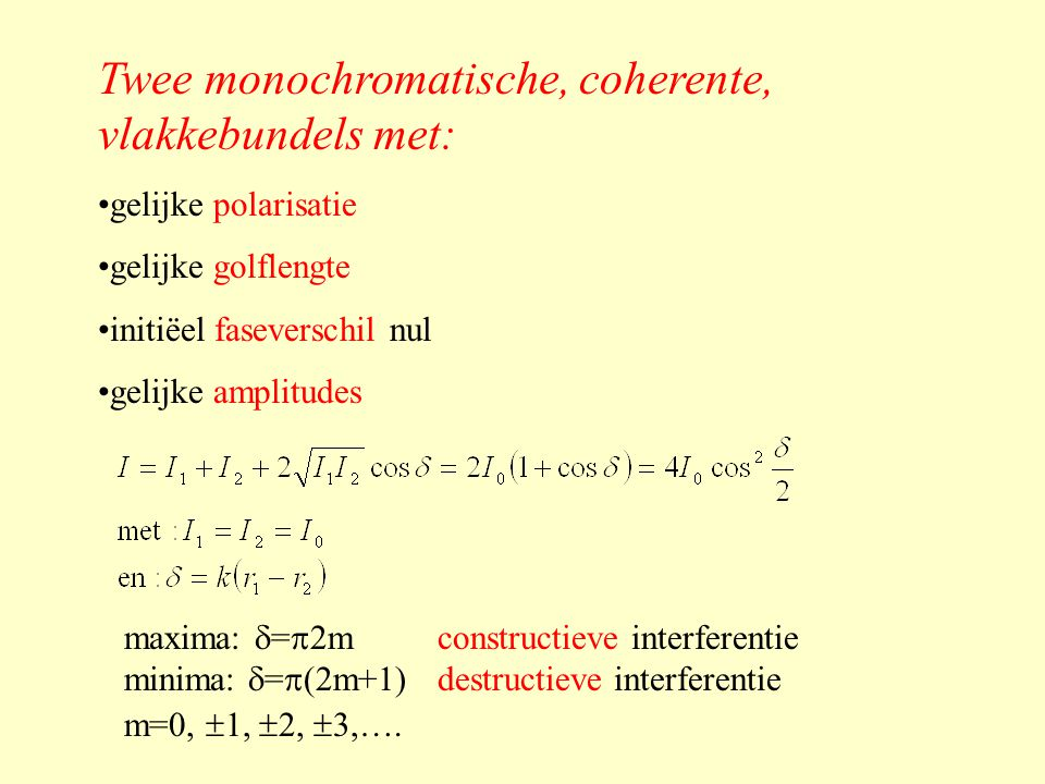 Twee monochromatische, coherente, vlakkebundels met: