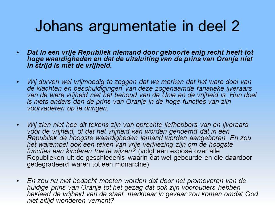 Johans argumentatie in deel 2