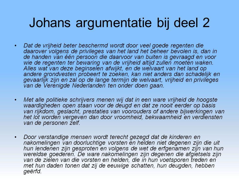 Johans argumentatie bij deel 2