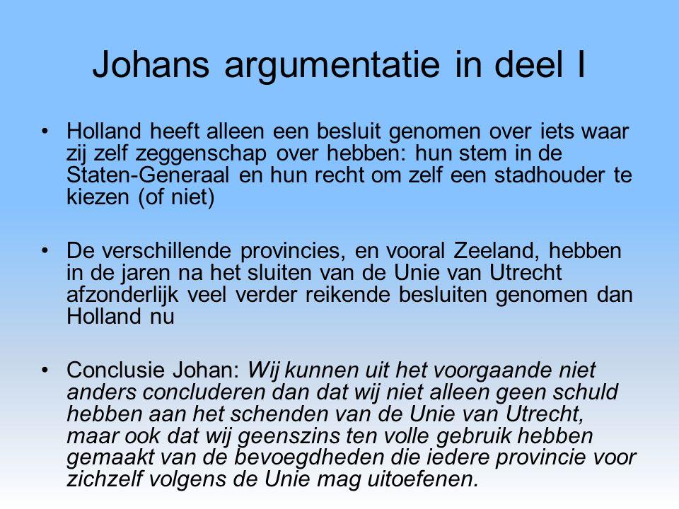 Johans argumentatie in deel I