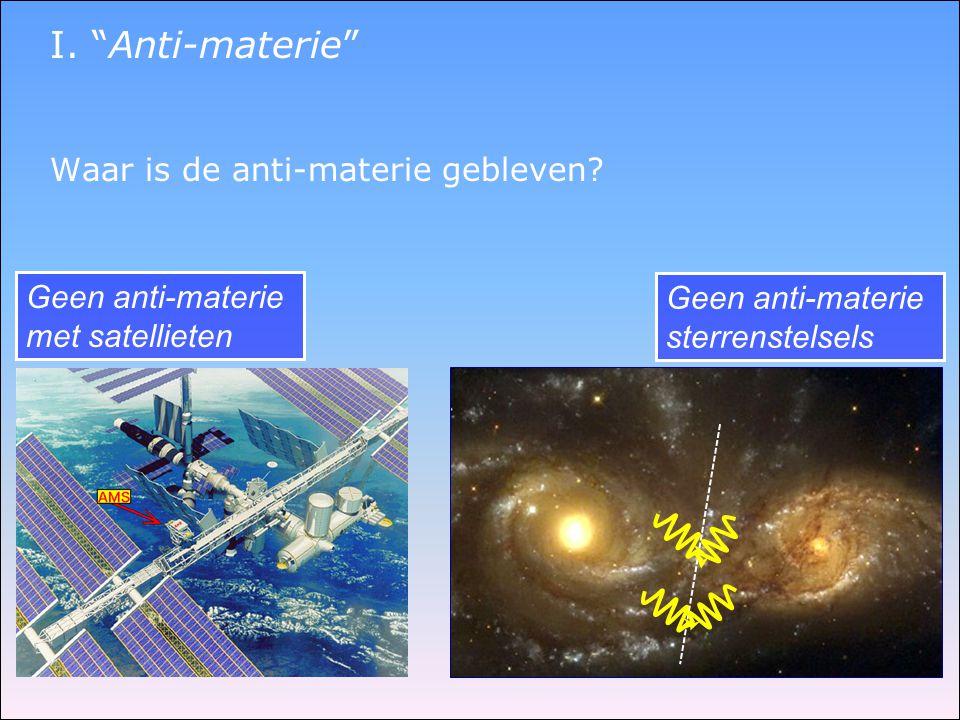 I. Anti-materie Waar is de anti-materie gebleven