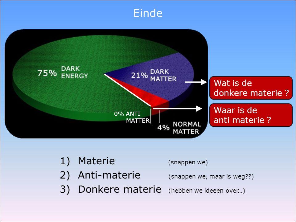 Einde Materie (snappen we) Anti-materie (snappen we, maar is weg )