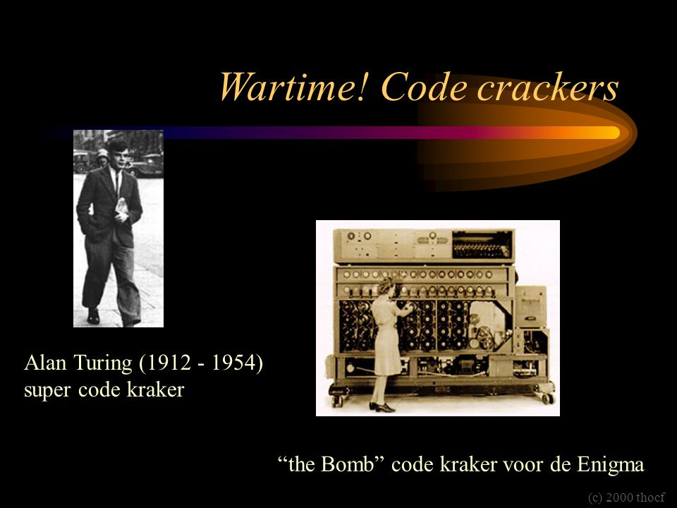 Wartime! Code crackers Alan Turing (1912 - 1954) super code kraker