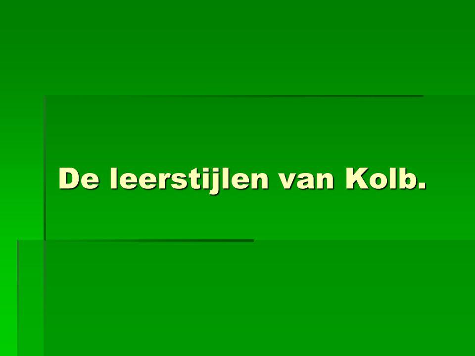 De leerstijlen van Kolb.