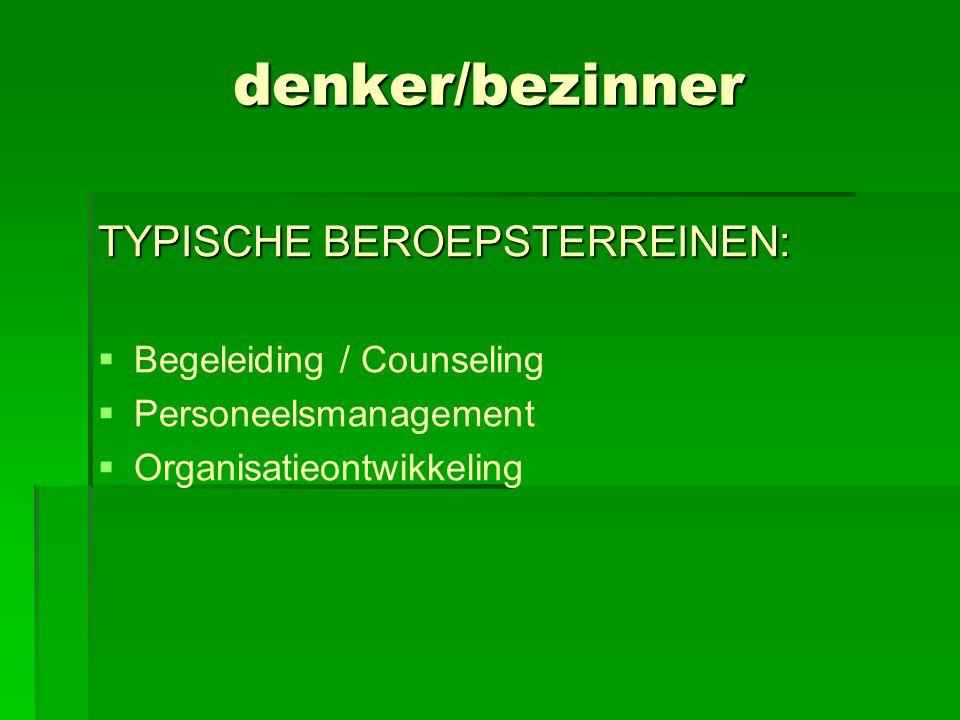 denker/bezinner TYPISCHE BEROEPSTERREINEN: Begeleiding / Counseling