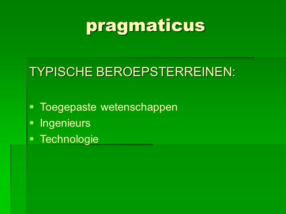 pragmaticus TYPISCHE BEROEPSTERREINEN: Toegepaste wetenschappen