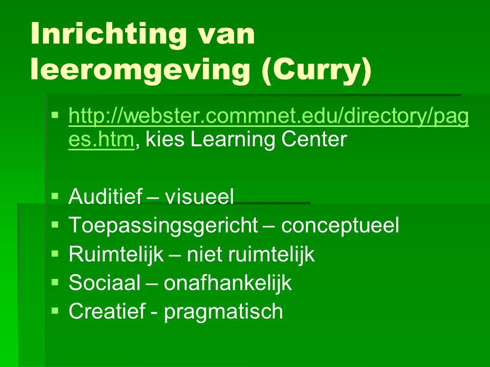 Inrichting van leeromgeving (Curry)