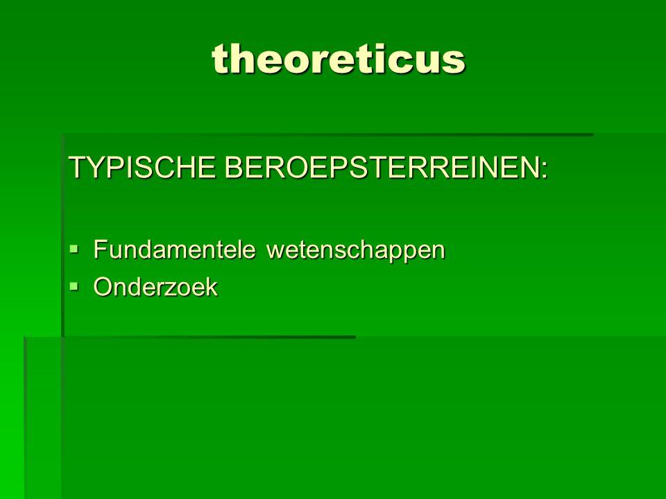 theoreticus TYPISCHE BEROEPSTERREINEN: Fundamentele wetenschappen