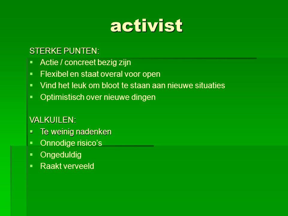 activist STERKE PUNTEN: Actie / concreet bezig zijn