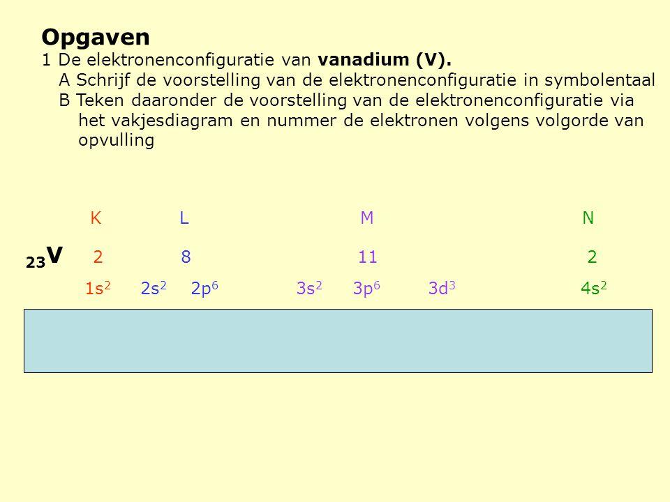 Opgaven 23V 2 8 11 2 1 De elektronenconfiguratie van vanadium (V).