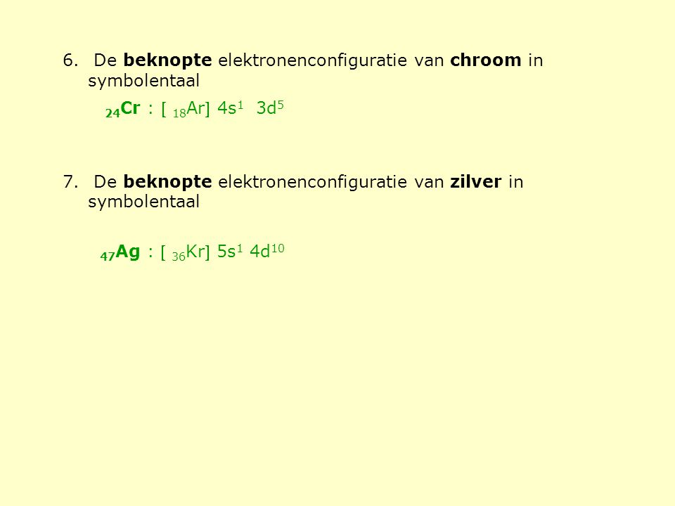 De beknopte elektronenconfiguratie van chroom in symbolentaal