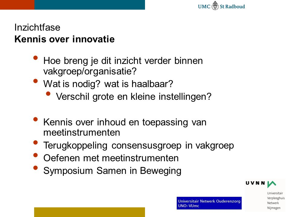 Inzichtfase Kennis over innovatie