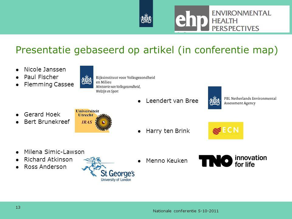 Presentatie gebaseerd op artikel (in conferentie map)