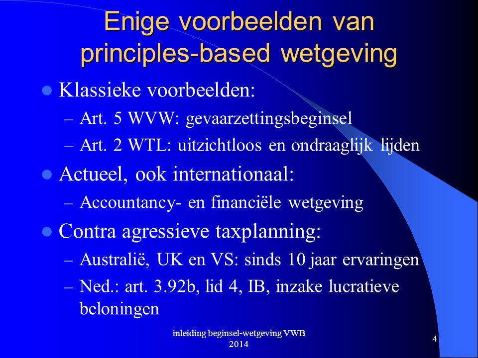 Enige voorbeelden van principles-based wetgeving