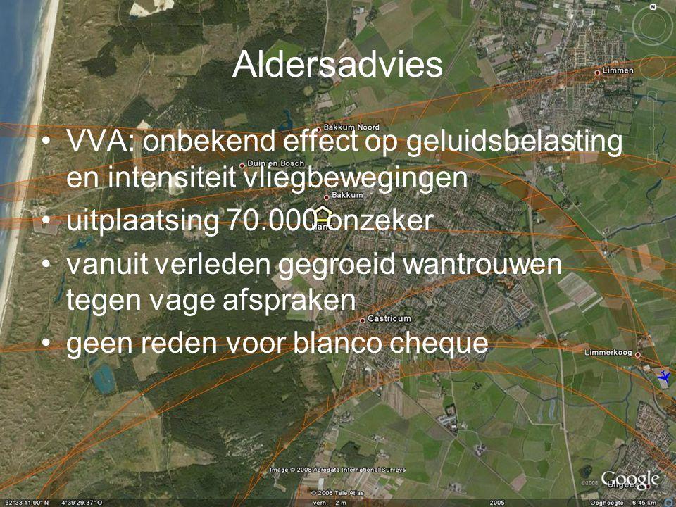Aldersadvies VVA: onbekend effect op geluidsbelasting en intensiteit vliegbewegingen. uitplaatsing 70.000 onzeker.