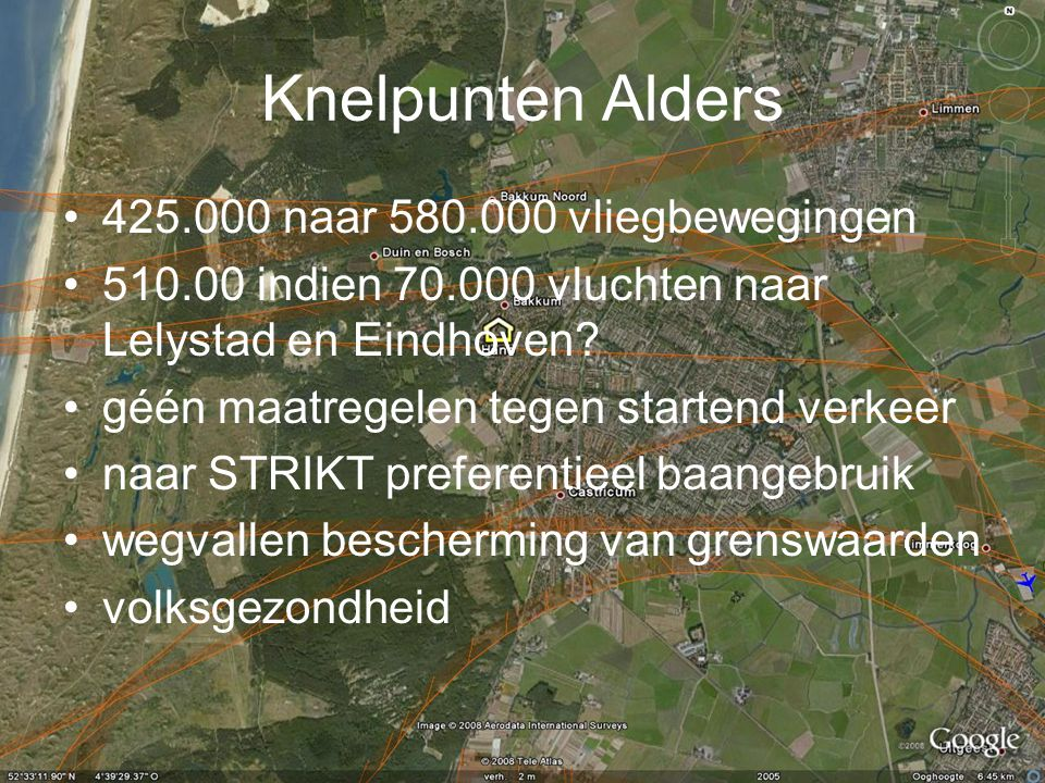 Knelpunten Alders 425.000 naar 580.000 vliegbewegingen