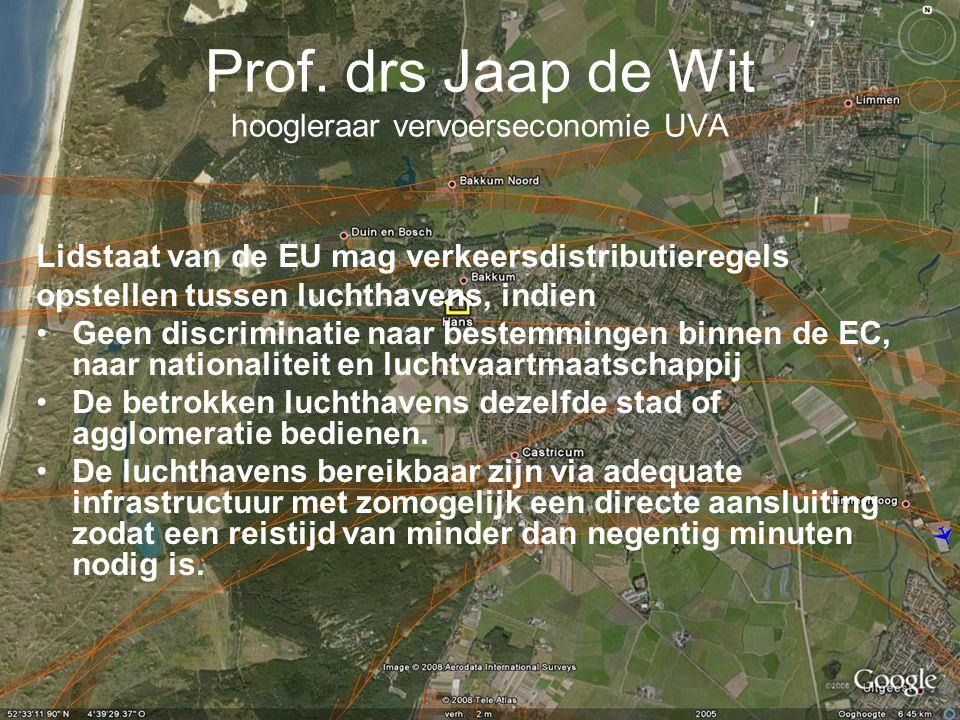 Prof. drs Jaap de Wit hoogleraar vervoerseconomie UVA