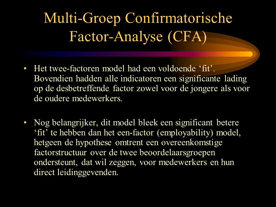 Multi-Groep Confirmatorische Factor-Analyse (CFA)
