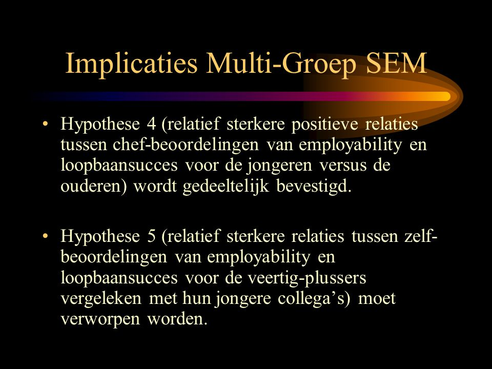 Implicaties Multi-Groep SEM