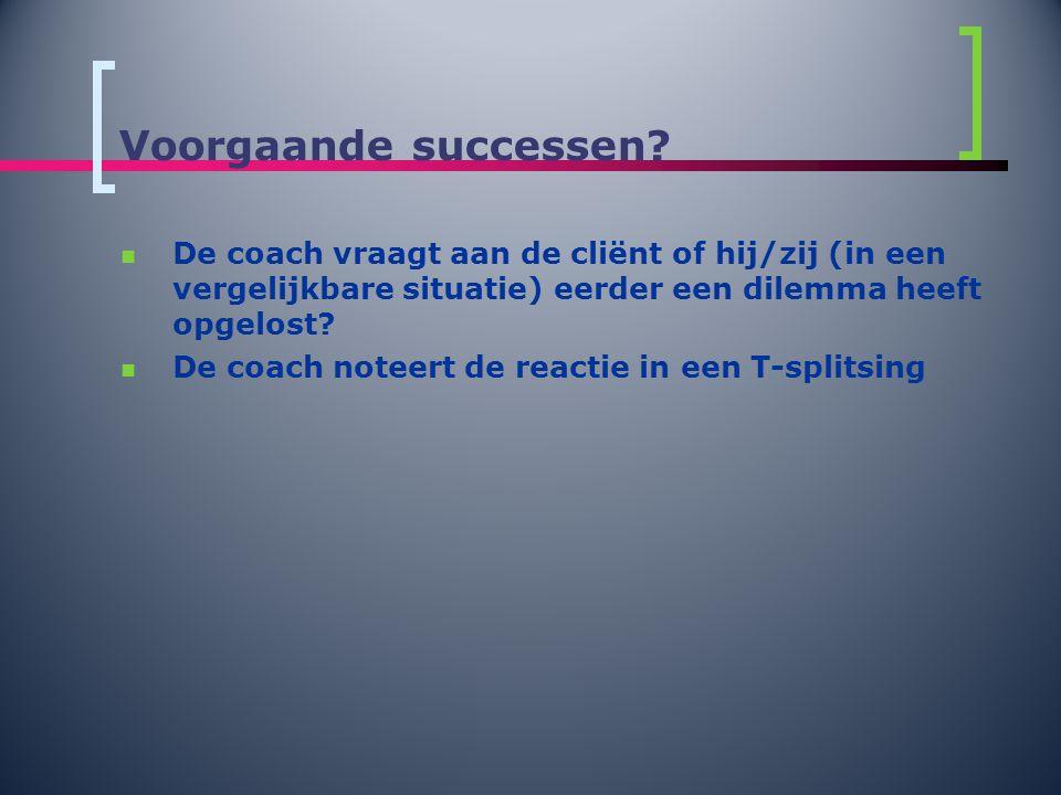 Voorgaande successen De coach vraagt aan de cliënt of hij/zij (in een vergelijkbare situatie) eerder een dilemma heeft opgelost