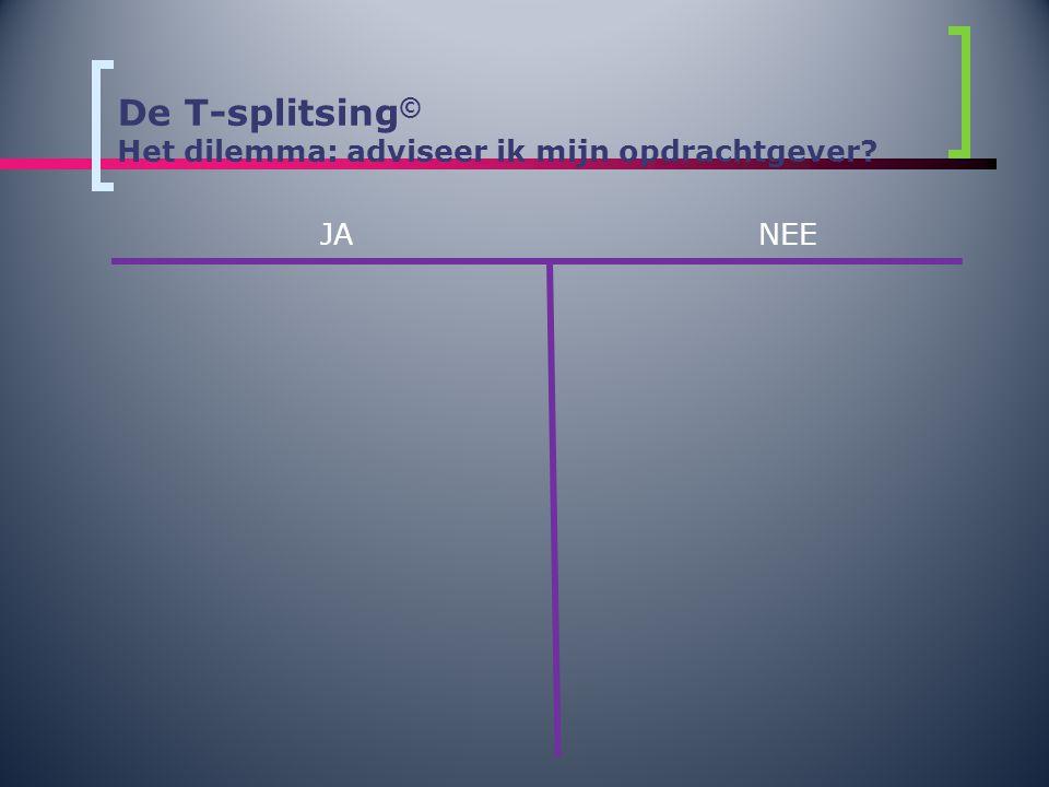 De T-splitsing© Het dilemma: adviseer ik mijn opdrachtgever