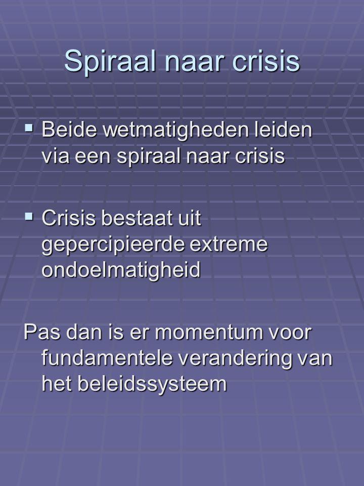 Spiraal naar crisis Beide wetmatigheden leiden via een spiraal naar crisis. Crisis bestaat uit gepercipieerde extreme ondoelmatigheid.