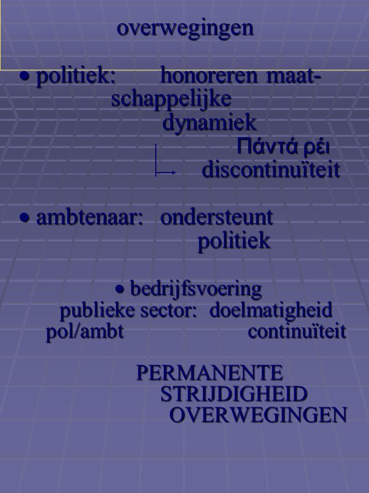 overwegingen  politiek:. honoreren maat-. schappelijke. dynamiek