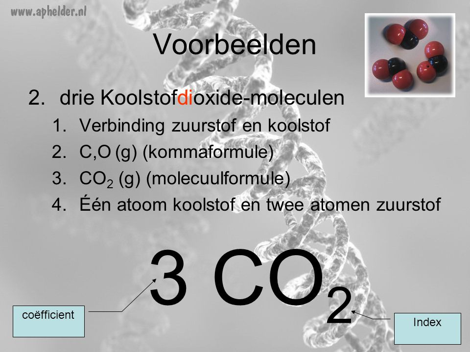 3 CO2 Voorbeelden drie Koolstofdioxide-moleculen