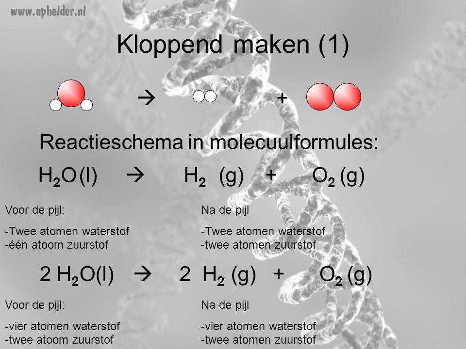 Kloppend maken (1)  + Reactieschema in molecuulformules: