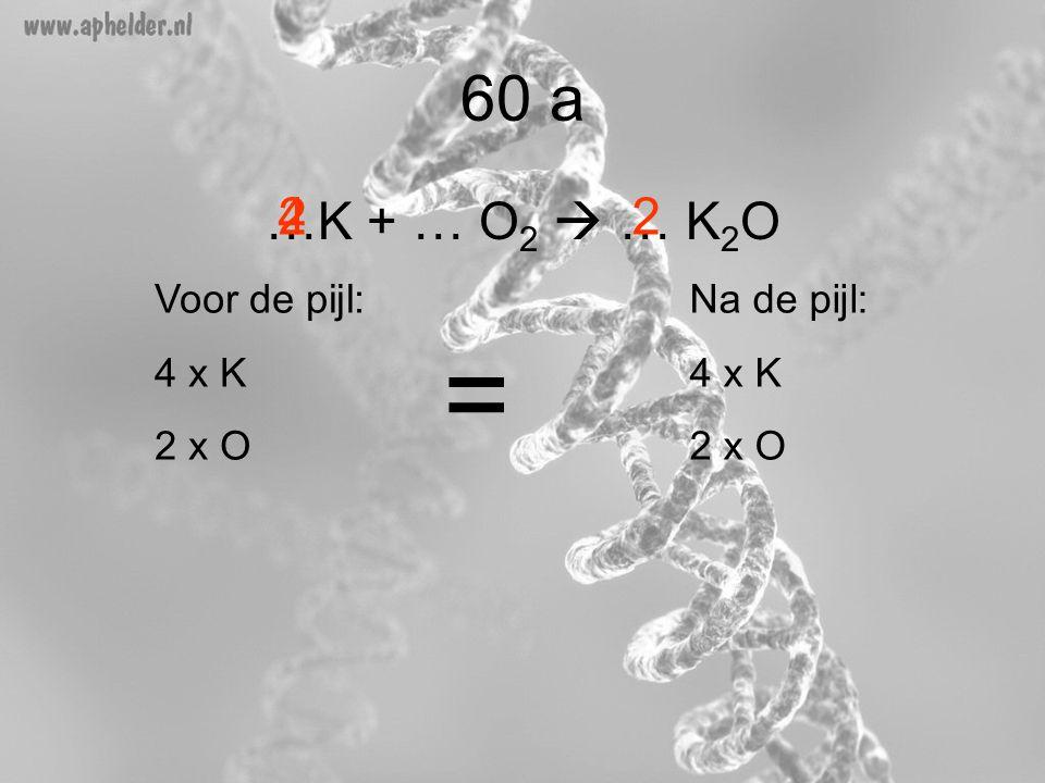 = 60 a …K + … O2  … K2O 4 2 2 Voor de pijl: 4 x K 2 x O Na de pijl: