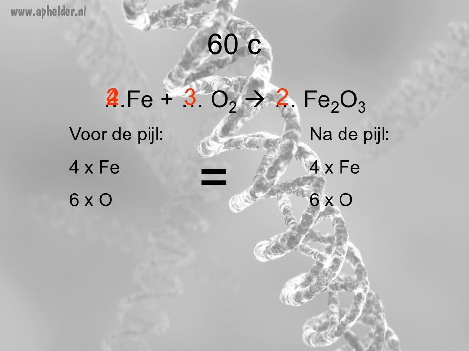 = 60 c …Fe + … O2  … Fe2O3 2 4 3 2 Voor de pijl: 4 x Fe 6 x O